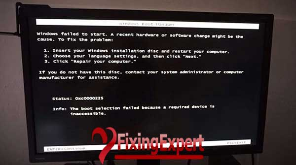How to fix The Boot Selection Failed Because a Required Device is