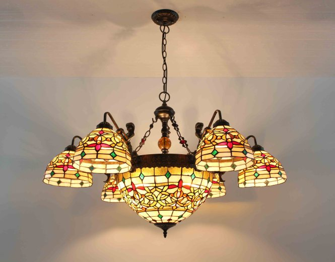Image Is Loading Tiffany Chandelier Stained Glass Lamp Ceiling Pendant Light