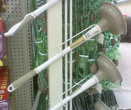 Toilet or Commode Plunger Merchandiser Rack