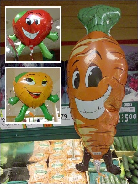 Balloons As Produce Signs