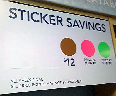 Color-Coded Savings Signage