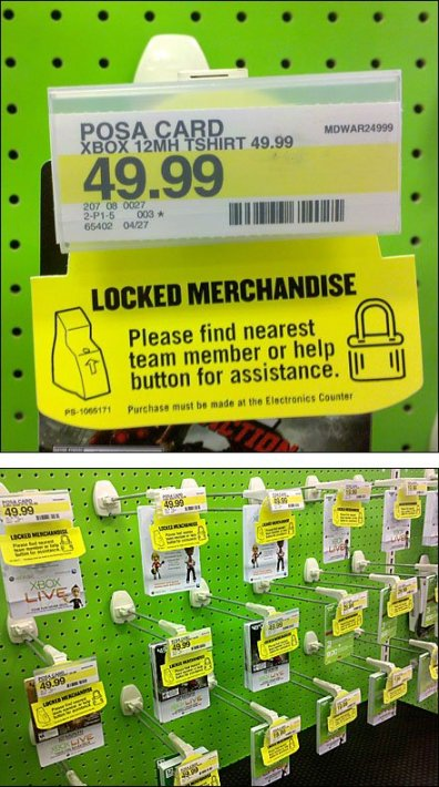 Locked Merchandise Sign on Hooks