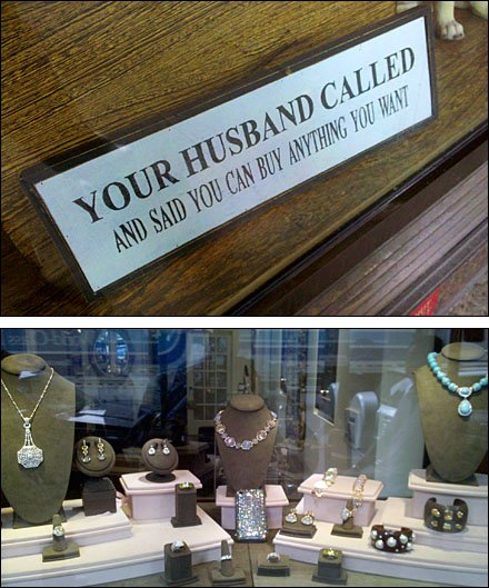 Your Husband Called Jewelry Store Sign