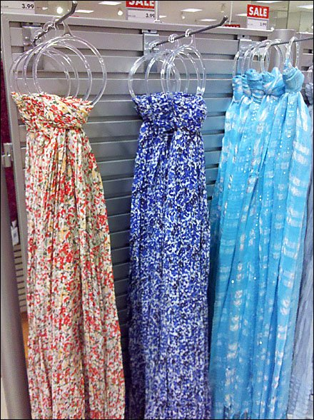 Endcap Sprouts Scarves on Hooks