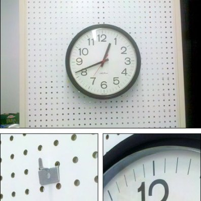 Clock on Pin-Up Hook Composit