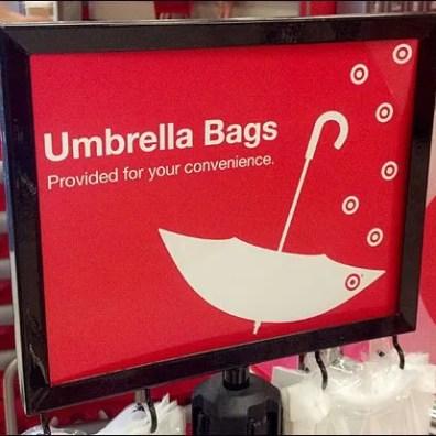Umbrella Bag Stand Sign Detail