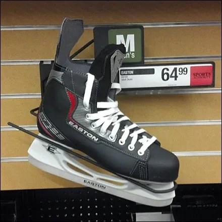 Ice Skate Slatwall-Pegboard Hook Propped CloseUp