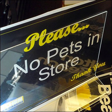 No Pets In Store Sign CloseUp
