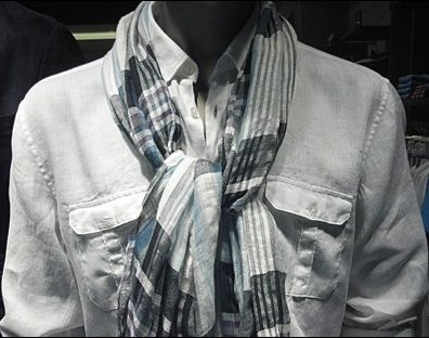 How Men Tie a Scarf Knot Closeup