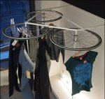 Bicycle-Wheel Apparel Rack