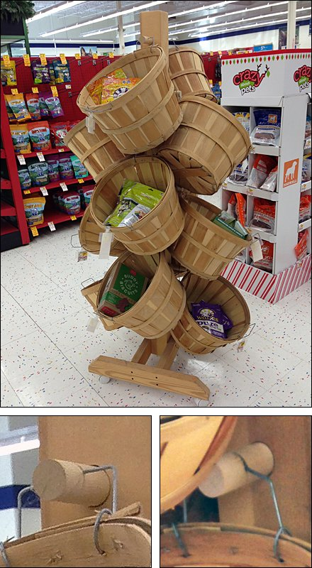 Casually-Hung Basket Tree on Wheels