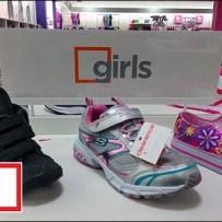 Closeup Square Branding Girls Shoes Aux
