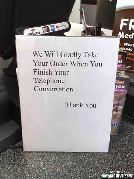 No Cell Phone Orders