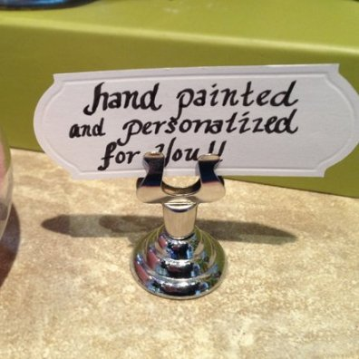 Short Lyre Table Stand Sign Holder 2 Propped