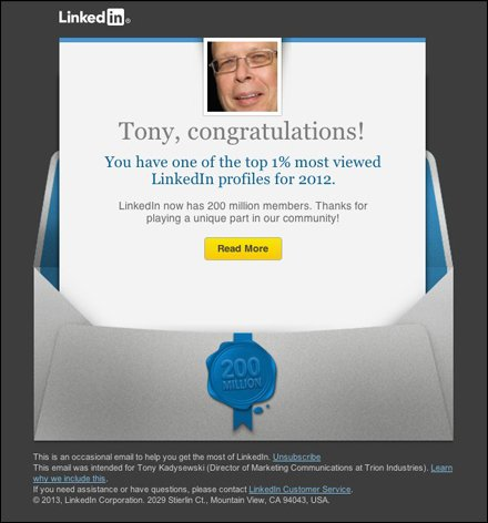 Top 1% most viewed LinkedIn profiles for 2012! - tkadysewski@gmail.com - Gmail