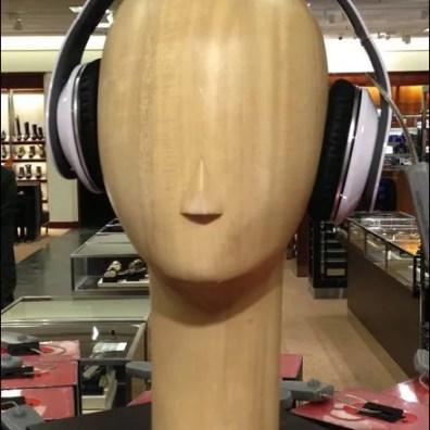 Wood Headphone Headform Closeup Aux