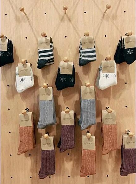 Hook Layout Patterns - Socks on Plug In Wood Peg Hooks wit Ball End Safety Tip