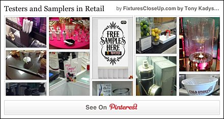 Testers and Samplers in Retail Pinterest Board FixturesCloseUp