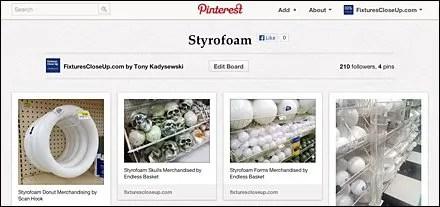 Styrofoam Pinterest Board for Fixtures Close Up