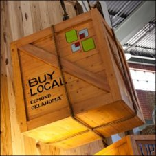 Buy Locally Suspended Crate Closeup