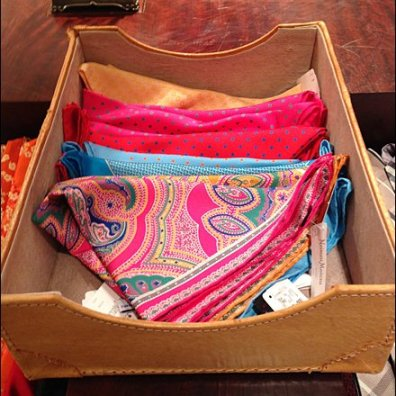 Scarves in Leather Tray Main