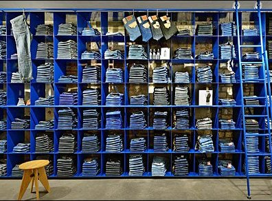 Blue Wall of Blue Jeans Store Decor