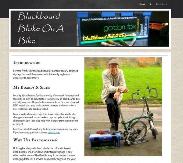 Blackboard Bloke on a Bike
