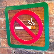Hand-Carved Wood No-Smoking Sign