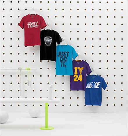 Upsized Pegboard Sells T-Shirts