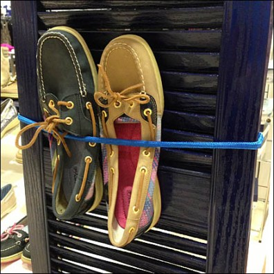 Shoes Bungee Corded to Shutter Detail