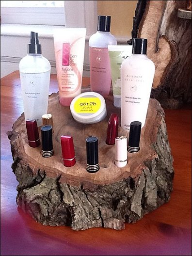 Upcycled Tree as Cosmetics Display 1