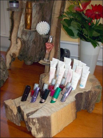 Upcycled Tree as Cosmetics Display 3
