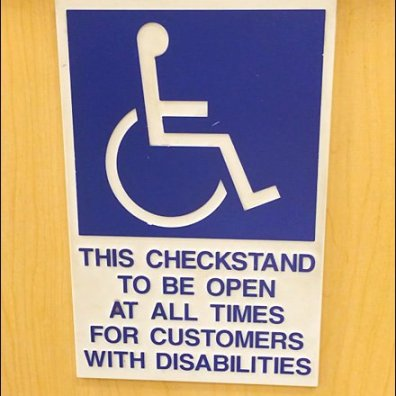 VIP Disabilities Check Stand Main Closeup