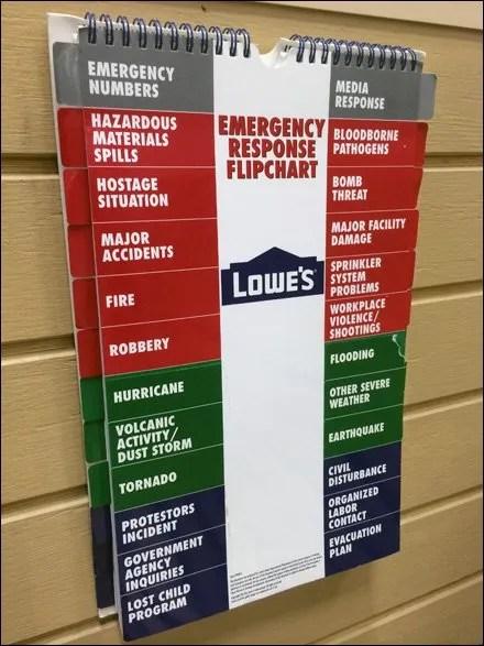 Lowes In-Store Emergency FlipChart