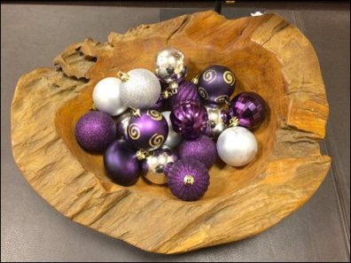 Xmas Balls in a Wood Bowl Detail