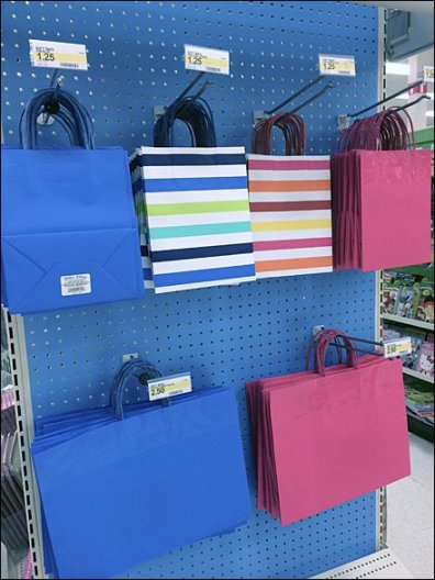 Gift Bags on Blue Pegboard Endcap Perspective