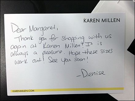 Karen Millen Handwritten Thank You CloseUp