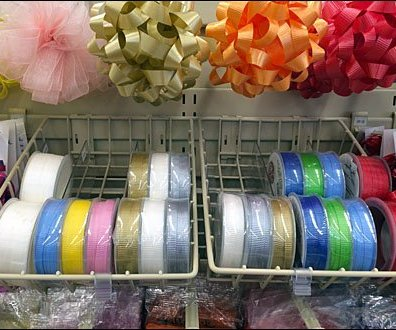 Gravity Feed Gift Ribbon Display Fixtures Close Up