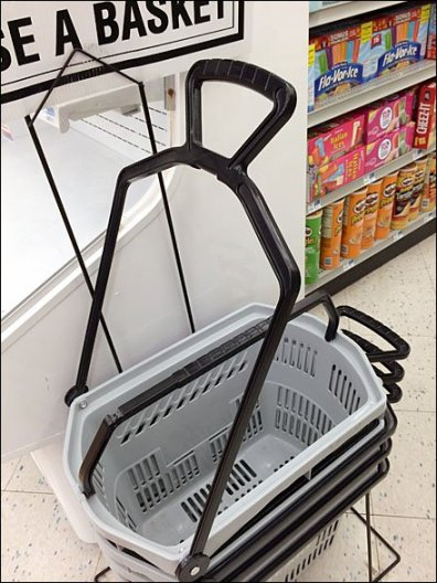 Shopping Basket Features Wheels