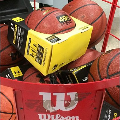 Wilson Basketball Bin Sign Holder Closeup