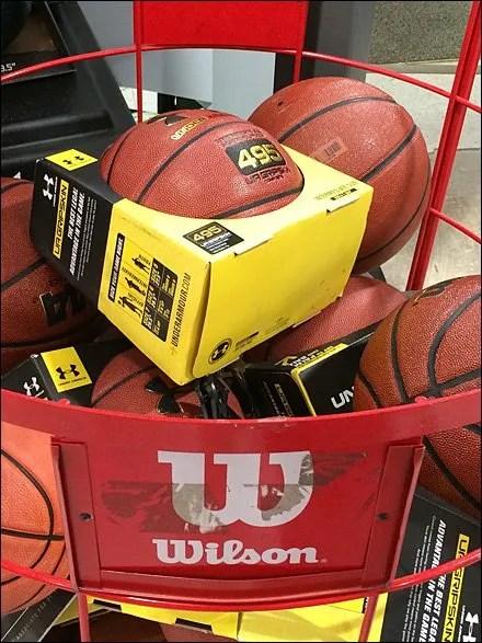 Wilson Basketball Bin Sign Holder Closeup