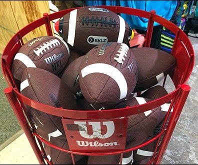 Wilson Football Bin Sign Holder Closeup
