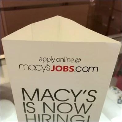 Macy's Hiring Triangular Standup Main