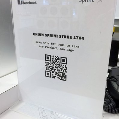 QR Code Scan to Facebook Page Angled