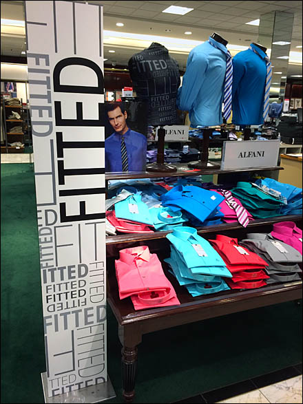 Alfani Fitted Shirt Tower Branding in Point-of-Purchase
