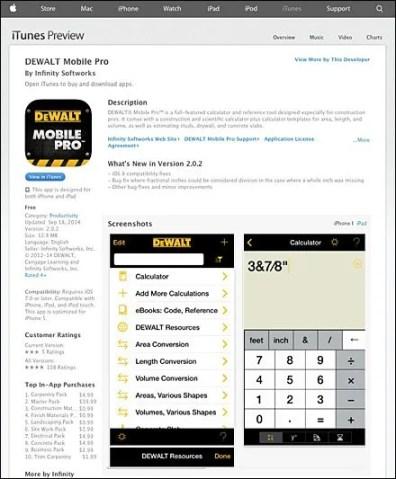 DEWALT Mobile Pro on the App Store on iTunes