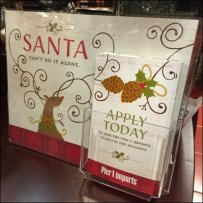 Santa Can't Do It Alone Hiring at Pier 1 Imports