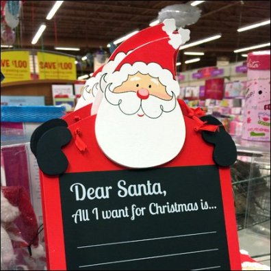 Santa All I Want for Christmas Chalkboard Aux