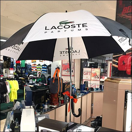 Umbrella Store Fixtures and Merchandising - Lacoste Rainy Day Parfums Umbrella Aux