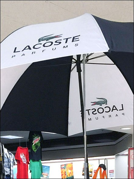 Lacoste Parfums Rainy-Day Umbrella Display